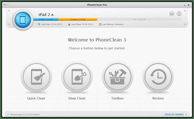 Очистка с помощью Phone Clean