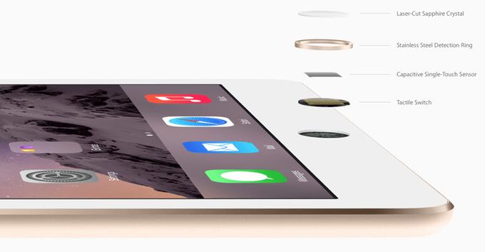 Кнопку разблокировки iPad mini 3 изготавливают из сапфирового стекла, которое заключается в кольцо из нержавеющей стали