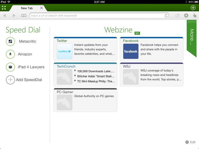 Интерфейс браузераDolphin Browser HD