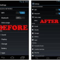 До и после изменения разрешения экрана