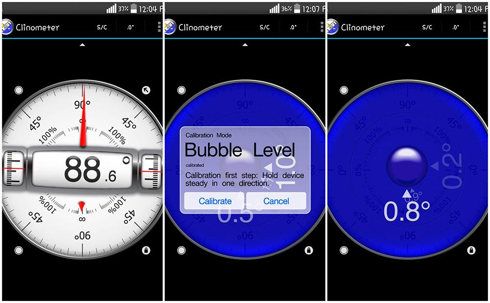 Программа Clinometer для калибровки экрана