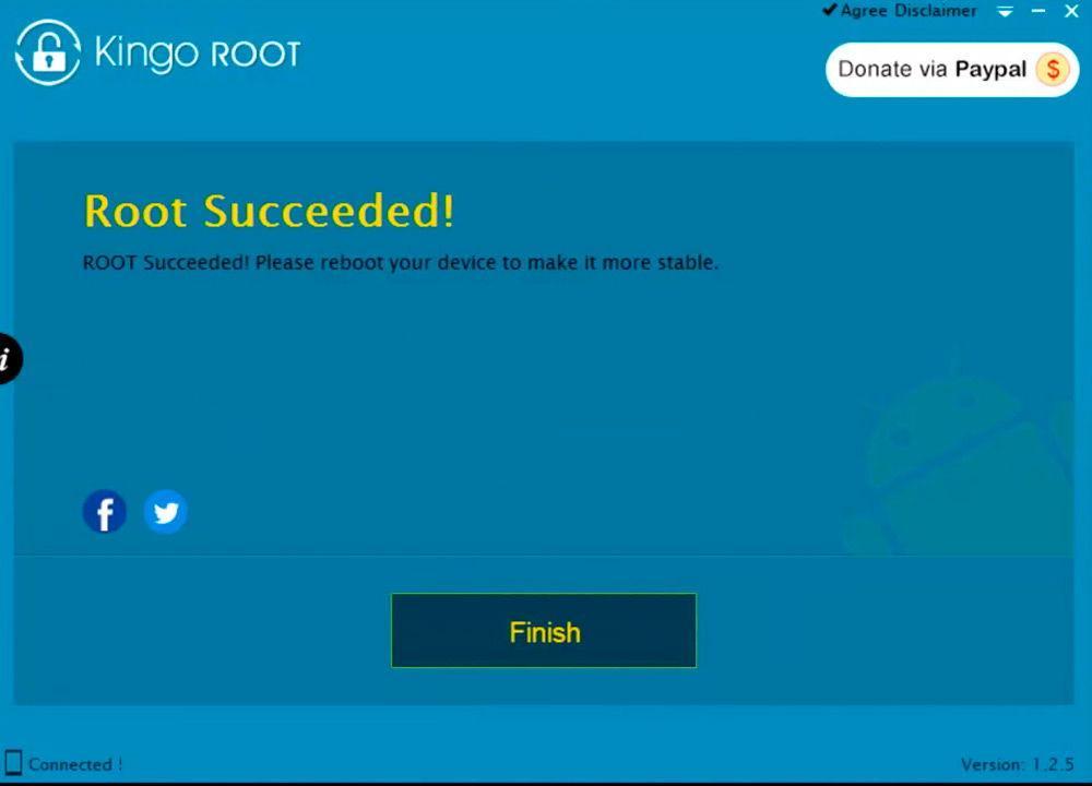 Надпись «Root succeeded» после успешной операции