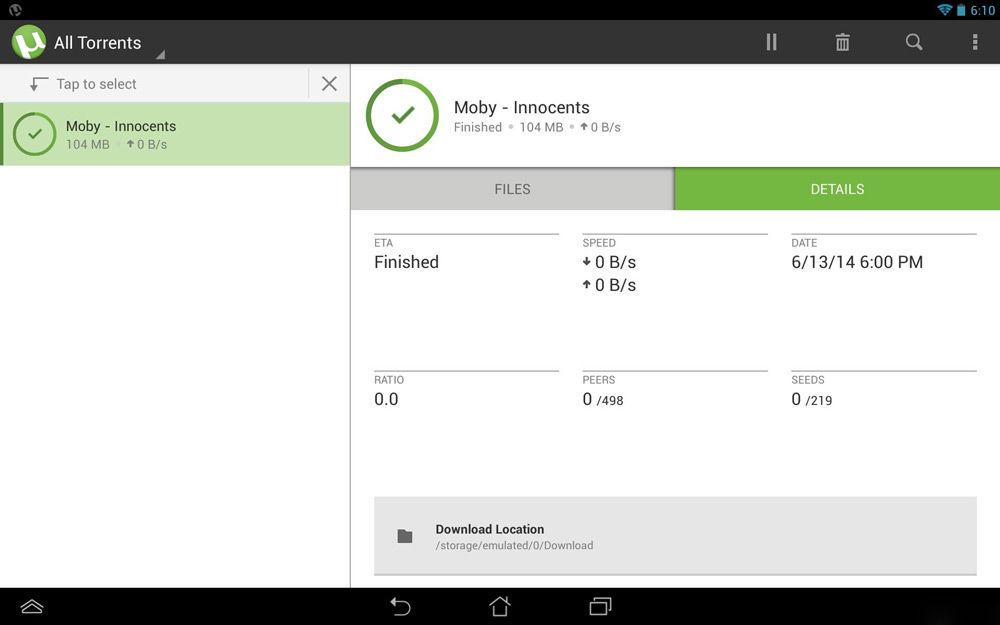 uTorrent на Андроид