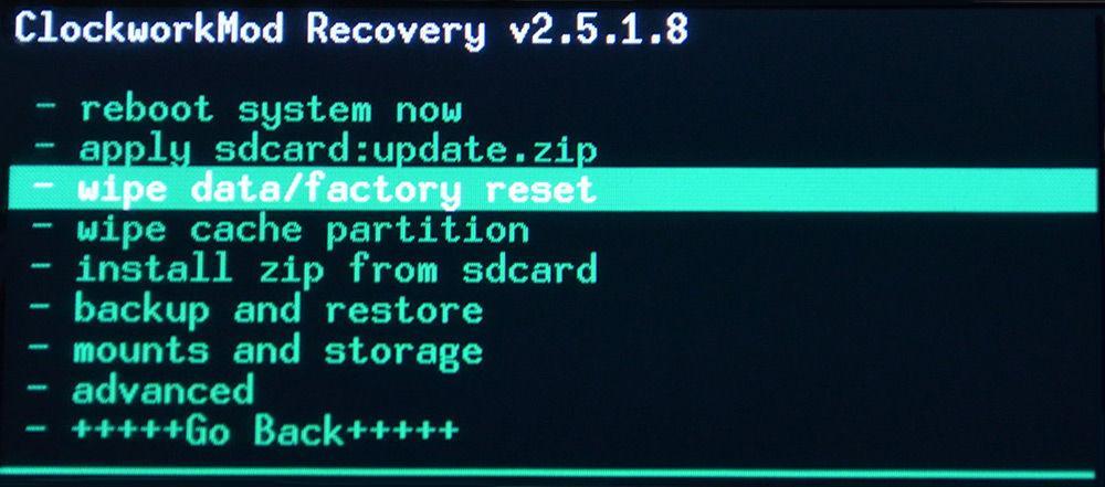 Wipe с помощью стандартного Recovery