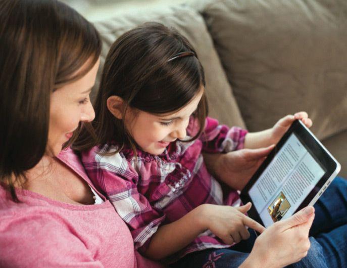 Чтение книги на планшете