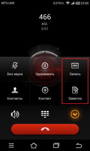 Стандартная возможность сохранения звонка