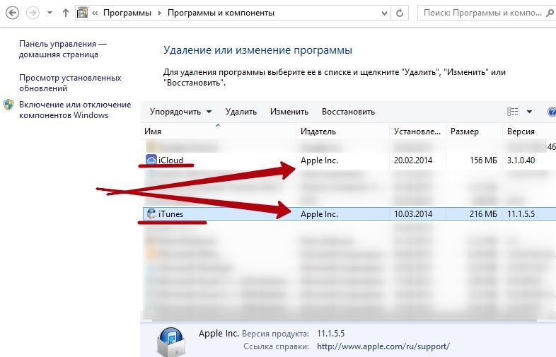 Удаление iTunes в ОС Windows