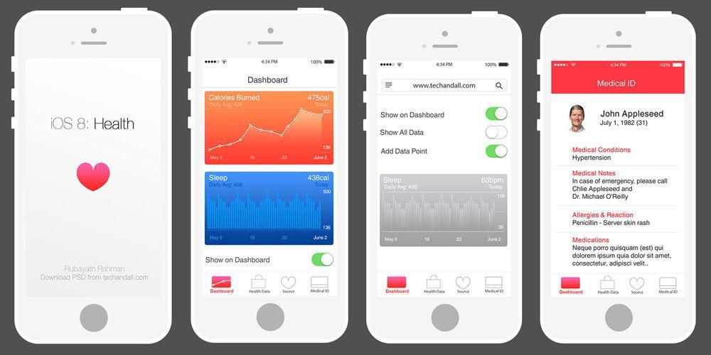 Рисунок четырех iPhone с приложением Health