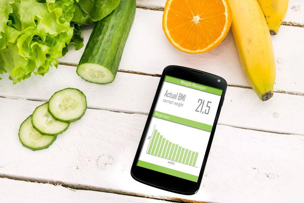 Смартфон, фрукты и овощи приложения для здоровья
