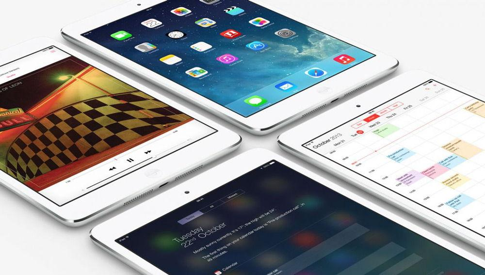 4 iPad mini на белом фоне