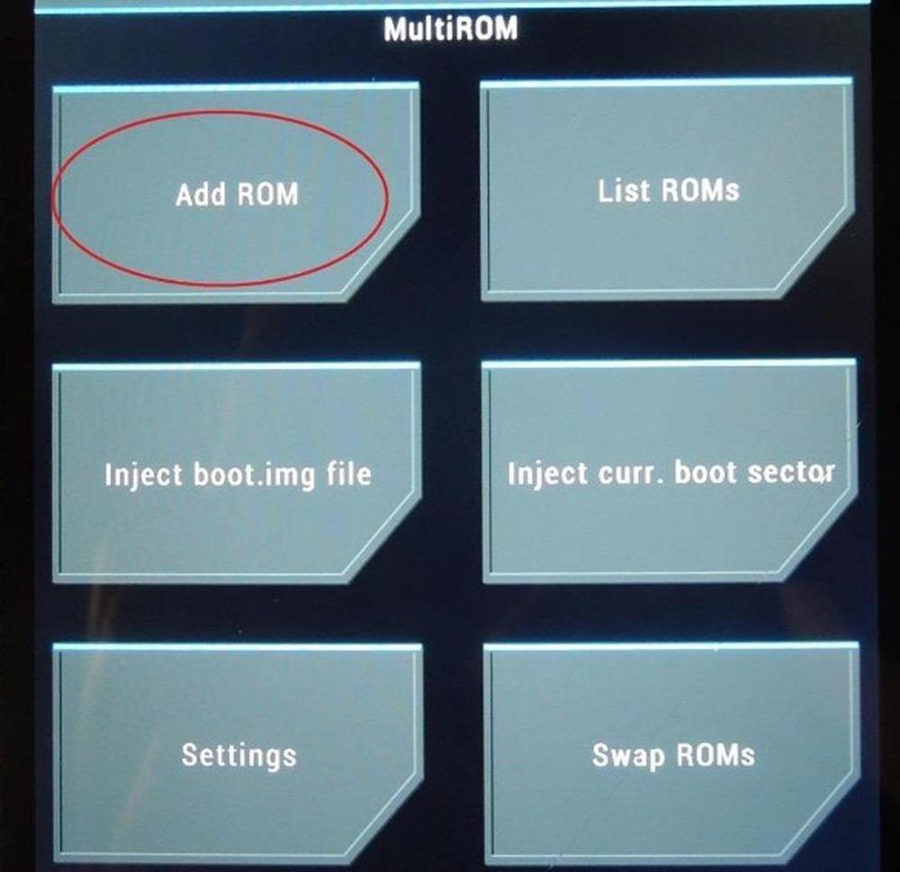 Переход в Add ROM