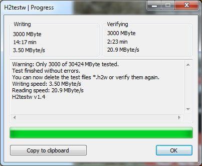 Проверка скорости через утилиту H2testw