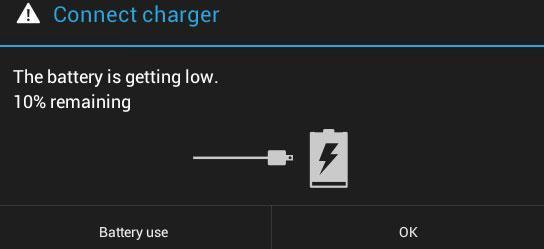 Низкий заряд аккумулятора