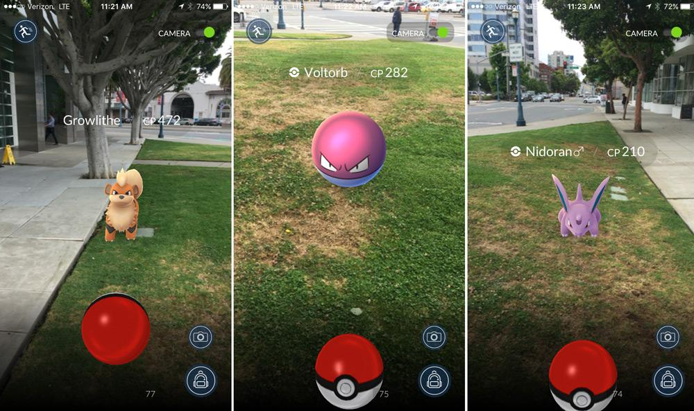Скриншоты из игры Pokemon Go