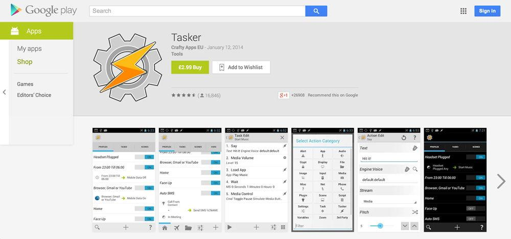 Tasker в Google Play