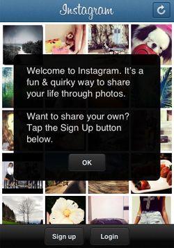 Приветственный экран Инстаграм