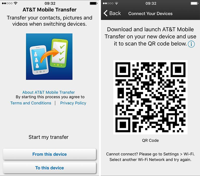 Перенос черезAT & T Mobile Transfer