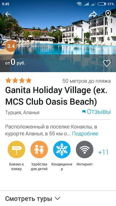 Данные об отеле